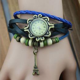 Wholesale Retro Eiffel Tower Wristwatch - 2015 Retro Weave Women Genuine Leather Vintage Watches Eiffel Tower quartz Wristwatches watches For Xmas Gift jewelry 7colours