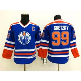 Wholesale Childrens Clothing Wholesale Quality - Blue Kids Hockey Jerseys Oilers #99 Wayne Gretzky Hockey Wears Top Quality Comfortable Boys Sports Clothes Cheap Childrens Ice Hockey Shirts