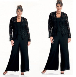 Wholesale Modest Prom Dresses Champagne Color - Modest Plus Size Black Chiffon Three Pieces Mother Formal Suit With Pants 2015 Long Sleeves Lace Evening Gowns Occasion Prom Party Dresses