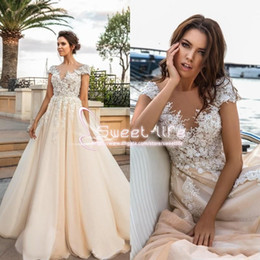 Wholesale Collar Neckline Wedding Dress - Romantic Princess 2017 A Line Wedding Dresse V Neckline Illusion Back 3D Flora Lace Appliques Empire Tulle Beach Sweep Train Bridal Gowns