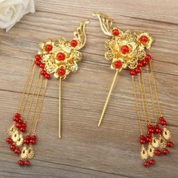 Wholesale Chinese Hair Flowers - Wedding Bridal Headpieces Chinese Style Hair Sticks Rhinestone Vintage Ancient Tiara Headband Pageant Jewelry Hair Accessories Two Pieces