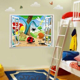 Wholesale Insects Wall Kids Decals - 3D Window View Insect Family Wall Art Mural Decal Sticker Home Wallpaper Decoration Decal Kids Boys Girls Art Decor Poster