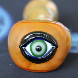 Wholesale Lighted Spoon - spoon pipe smoking accessories Evil eye glass smoking pipe good design heady hand pipes for tobacco