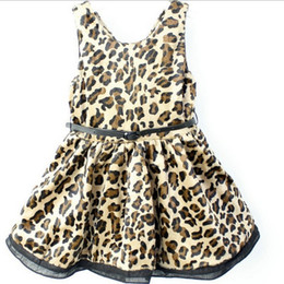 Wholesale Grain Vest - Spring Autumn Children Vest Dress Leopard Grain Sleeveless Girl Dresses Thicken Good Quality With Belt Baby Kids Dress Topwear Retail
