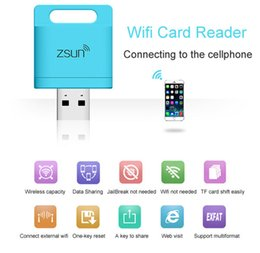 Wholesale Usb Extended - Zsun Wireless Wifi Card Reader Microsd USB Extended Phone Memory U Disk Mobile Storage USB Flash Drive For PC Android IOS Windows Phone