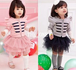 Wholesale Wholesale Suit Jackets Kids - baby girl long sleeve jacket coat tutu skirt 2pcs children clothing set girls outfits kids spring clothes suits free shipping in stock