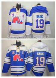 Wholesale Time Road - Factory Outlet, Quebec Nordiques Joe Sakic Hoody 19 Home Blue Road White Old Time Joe Sakic Ice Hockey Hoodie Pullover Sweatshirt Hoodies
