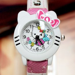 Wholesale Watch Head Wholesale - Children Watches Cartoon Watches Wrist Watches Fashion Sports Analog Head Shaped for Girls Kids Students Cute Leather