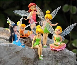 Wholesale Tinker Bell Free Shipping - Free DHL New High Quality PVC 6pcs set Tinkerbell Fairy Adorable Tinker Bell Figures Toy Doll Festival Gifts Free shipping Hot Sale