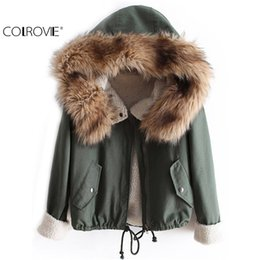 Wholesale White Faux Fur Top - Wholesale- COLROVIE Newest Autumn Fashion Hot Top Faux Fur Green Long Sleeve High Street Women New Fashion Casual Hooded Drawstring Coat