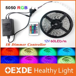 Wholesale 12 Volt Cooler Warmer - RGB Changeable 12 volt IP65 led lights 5050 Flexible Strip Light Super 5M 300 led + 24 Key IR Remote Controller + Power Adapter