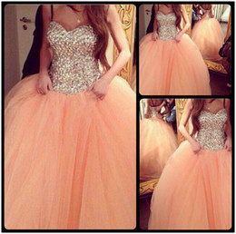 Wholesale Colored Plus Wedding Dresses - Shining Sweetheart Beaded Croset Sleeveless Ball Gown Peach Colored Wedding Dresses 2016 Custom Made Plus Size Wedding Gowns