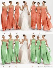 Wholesale Gray Graduation Dresses - CUSTOM New Mix style split Long bridesmaid dress sweep train Graduation Dresses prom dress cocktail sexy evening dress