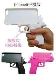 Juguetes duros online-3D Pistola creativa en forma de tapa de moda Funda rígida de PC para Iphone X XS MAX XR 8 7 Plus 6 6S SE 5 5S 5C 4 4G 4S Cubierta de piel de teléfono celular de juguete de lujo 1 unids