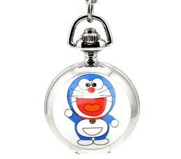 Wholesale Doraemon Watches - Cat Doraemon Animated cartoon enamel White steel Children pendant Take the mirror quartz Necklace chain pocket watch