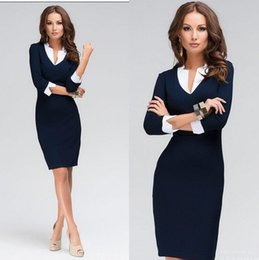 Wholesale panel tights - Hot Sale Women Dress 2015 New Brand Fashion V-neck Tights Work Wear Spring Autumn Dress Plus Size White Collar Casual Office Dress Blue