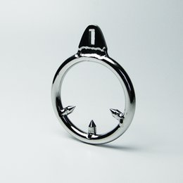 Wholesale Cbt Devices - Barbed Anti-off Ring For Cock Cage Stainless Steel Male Chastity Device CBT Toys Metal BDSM Toys Bondage Gear Adult Sex Toys For Men