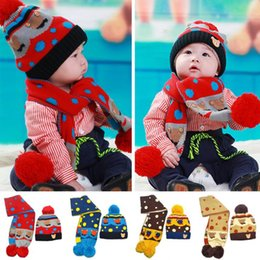 Wholesale Little Girls Scarfs - Wholesale-2015 new winter little bear bears added velvet hat+scarf suits,boy and girl caps,(4 colors)free shipping