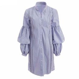Wholesale Empire Tunic Size Xl - Ladies Blue Striped Shirt Dresses 2018 Spring Autumn Women Vintage Stand Collar Peplum Sleeve Tunics Office Lady Work Gown Plus Size 2XL 3XL