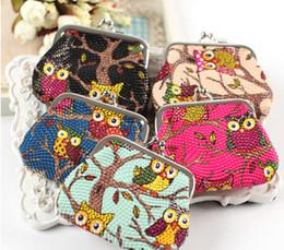Wholesale Wholesale Owls Purses - Hot fashion Stylist Multichoice Color Owl Patten PU Women Girls Coin Money Bag Purse Wallet Cheap Free Ship