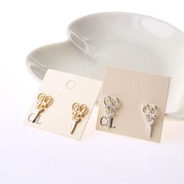 Wholesale Punk Scissors - 2015 new scissor stud earrings cute design gold and silver color for women girls punk jewelry
