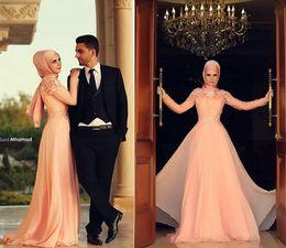 Wholesale Long Dresses For Prom Peach - Muslim Evening Dresses Long Sleeves Hight Neck Abaya kaftan Prom Dress hijab for Muslim Women Peach Chiffon Dubai Arabic Formal Dresses