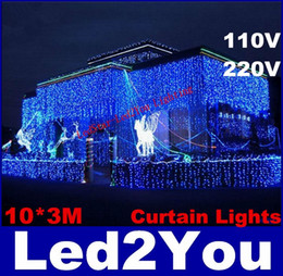 Wholesale Christmas Icicle Lights Sale - Hot Sale Curtain String Lights Garden Lamps New Year Christmas Icicle LED Lights Xmas Wedding Party Decorations 1000LEDs 10M*3M