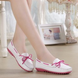 Wholesale Pregnant Comfortable - Casual Driving Shoes Woman Bowknot moccasin-gommino Womens Genuine Leather Loafers Shoes Ladies Plat Comfortable Pregnant women shoes H123