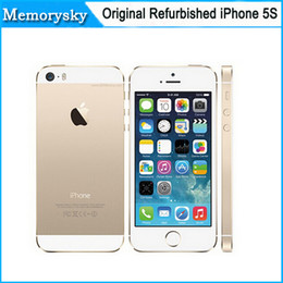Wholesale Iphone 5s Factory Unlocked - Original Factory Unlocked apple iphone 5s phone 16GB ROM IOS White Black Gold GPS GPRS A7 IPS LTE Refurbished Cell Phone DHL shipping 002832