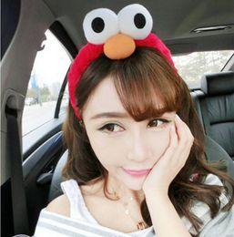 Wholesale Funny Costumes Sale - Wholesale-Hot Sale Korea Lovely Cooki Monster Headwear Exaggerated Big Eyes Funny Eye Sesame Street Plush Hair Accessories Elmo Headband