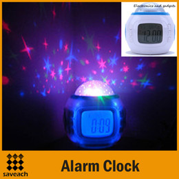 Wholesale Projector Clock Thermometer - Christmas Gift - Colorful Music Starry Star Sky Projection projector with Alarm Clock Calendar Thermometer Free Shipping