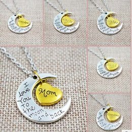 Wholesale American Meaning - Body meaning necklace i love you Mom daughter sister brother Pendant Family European and American selling couple necklace HOT Moon Rings