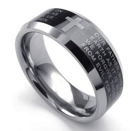 Wholesale Tungsten Rings Crosses China - Mens Tungsten Ring 8mm Cross English Lords Prayer Band Black Silver US Size 7 to 13 Drop Shipping