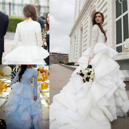 Wholesale beaded lace top - 2017 New Long Sleeves Winter A-line Wedding Dresses Lace Beaded Top Tiered Ruffles Plus Size Bridal Gowns with Chapel Train BA0626
