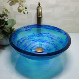 Wholesale Bathroom tempered glass sink handcraft counter top round basin wash basins cloakroom shampoo vessel bowl HX007