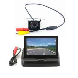 "Wholesale Dvr System Lcd Monitor - 4.3"" LCD Folding Monitor Night Vision Car DVR Rear View System Backup Reverse Camera Kit"