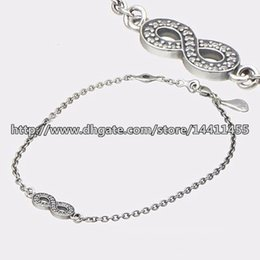 Wholesale Sterling Silver Jewelry Infinity Link - 100% 925 Sterling Silver Symbol of Infinity Bracelet with Clear Cz Fits Pandora Style Jewelry Charms and Beads