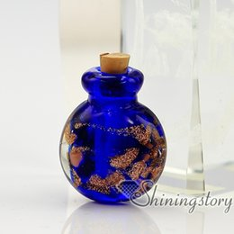 Wholesale Glitter Crafts - round glitter murano glass hand craft lampwork glass perfume vials necklace urns necklace urn for ashes necklace urn for ashes