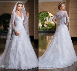 Wholesale Ivory Bridal Bouquets - Vestidos De Noiva 2016 Modest Long Sleeve Lace Wedding Dresses With High Back Bridal Gowns Beautiful Bride Wedding bouquet