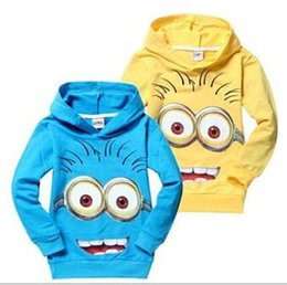 Wholesale Yellow Minion Kids T Shirts - Children Casual T Shirt 2015 Autumn Fashion Minions Printed Boys Hooded T Shirt Pure Cotton Kids Clothes Fit 2-9Age 90-140 12pcs lot