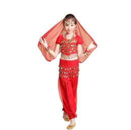 Wholesale Bollywood Kids - 2015 New Kids Girl Bollywood Indian Dance Dresses Set 4PCS Top+Pant+Veil+Belt Belly Dance Halloween Costumes Vestidos Children