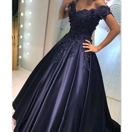 Темно-синий Пром платья длинные 2017 формальные кружева аппликация бусины с плеча атласные халаты де вечерние платья партии бальное платье плюс размер от