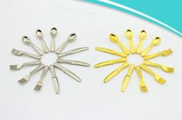 Wholesale Miniature Knives Wholesale - Wholesale- 12pcs set Mini Cutlery Knife Fork Spoon Vintage Miniatures Tableware Childrens Toy House Decor