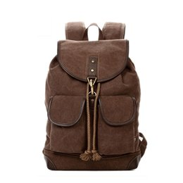 Wholesale Vintage Casual Canvas Backpack - TSD Vintage Men Casual Canvas Leather Backpack Rucksack Bookbag Satchel Hiking Bag 603212 coffee free shipping