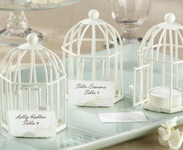"""Wholesale Tealight Candle Holder Free Shipping - Free shipping """"Love Songs"""" Birdcage Tealight White place card holder candle holder wedding favors 15pcs Lot"""