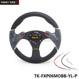 Wholesale Momo Pvc - Tanksy- New MOMO 320MM Yellow PVC Sport Spoke Car Racing Steering Wheel Carbon Firbre + Horn Button TK-FXP06MOBB-YL-P