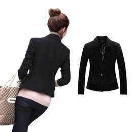 Wholesale Womens Work Suits - S5Q Womens Slim Business Suit Coat Warm One Button Warm Work Blazer Jacket Tunic AAAECH
