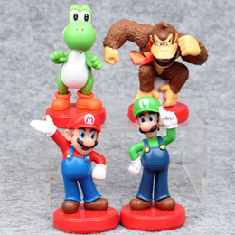 Wholesale Luigi Figure - High Quality Mario  Luigi Yoshi Kong Kim Super Mario PVC Action Figures Gift Toy (4pcs Lot - Size : 8cm )