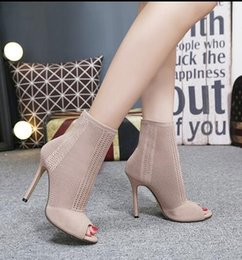 Wholesale Thin Ankle Toe Socks - Women Boots 2018 Fashion Europe Knitting Peep Toe Socks Bootie Hollow Thin High Heels Boots Ankle Bootie Sapatos