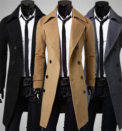 Wholesale Mens Black Trench - 2016 New Brand Autumn mens long pea coat Men's woolen Coat Turn down Collar Double Breasted men trench coat